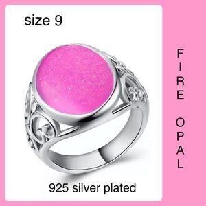 Pink Fire Opal Oval Silver men's Women's SZ 9